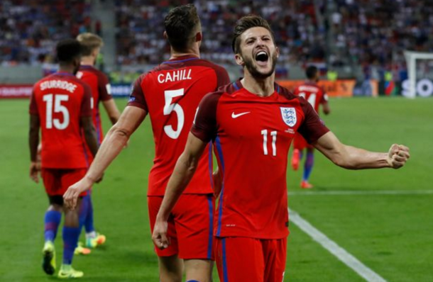Lallana celebrates his winner at the death for England. (Picture: Getty Images)