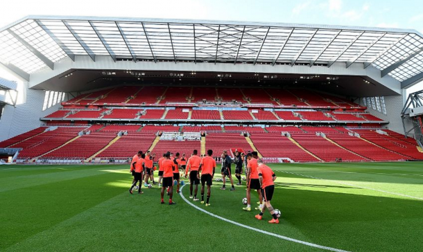 Klopp and his players, under the shadow of the enormous Main Stand, trained at Anfield on Thursday. (Picture: Liverpool FC via Getty Images)