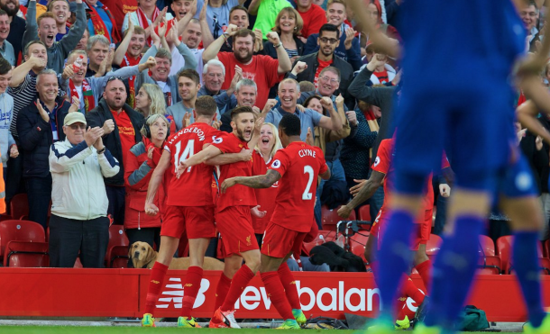 Lallana celebrates his goal against Leicester at the weekend. (Picture: Getty Images)