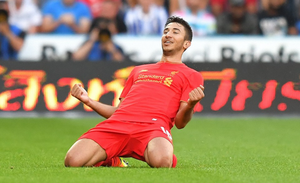 Grujic celebrates netting against Huddersfield in pre-season. (Picture: Getty Images)