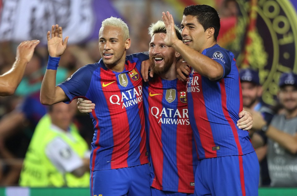Messi, Suarez and Neymar were at their scintillating best together on Tuesday. (Picture: Getty Images)