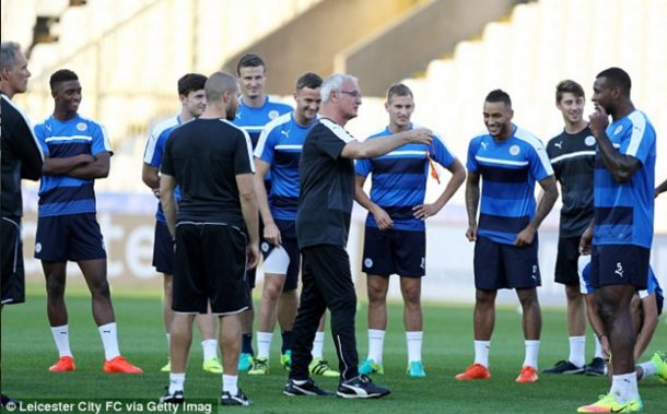 Ranieri and his players in training at the Jan Breydel Stadium on Tuesday. (Picture: Leicester City via Getty Images)