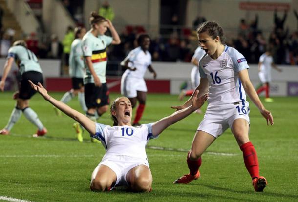Jill Scott celebrates her late equaliser against Belgium   Photo: Nigel Roddis- The FA / Getty Images
