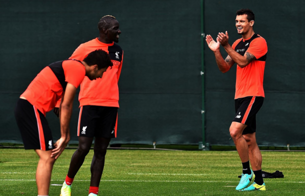 Lovren and Can (out of picture) were both back in training this week. (Picture: Getty Images)