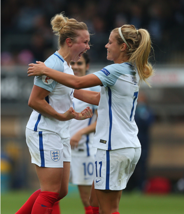 Issy Christiansen celebrates after scoring the fifth goal against Serbia   Photo: Getty Images