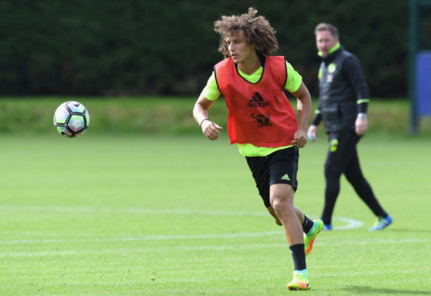Luiz in Chelsea training earlier this week. (Picture: Getty Images)