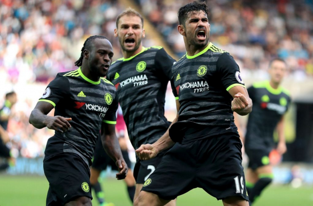Costa celebrates his second goal (fourth of the season) against Swansea. (Picture: Getty Images)