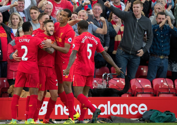 Adam Lallana celebrates putting Liverpool 3-1 up against Leicester. (Picture: Getty Images)