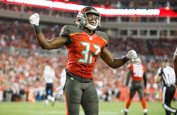 Keith Tandy reacts after his interception on Drew Brees (Buccaneers.com)