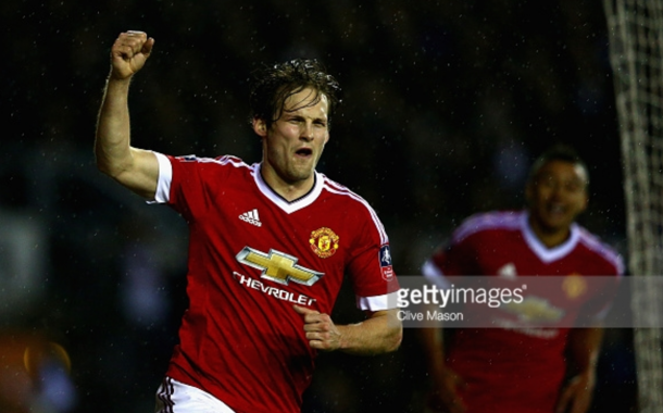 Blind celebrates his goal - Derby in the FA Cup (Clive Mason/Getty Images)