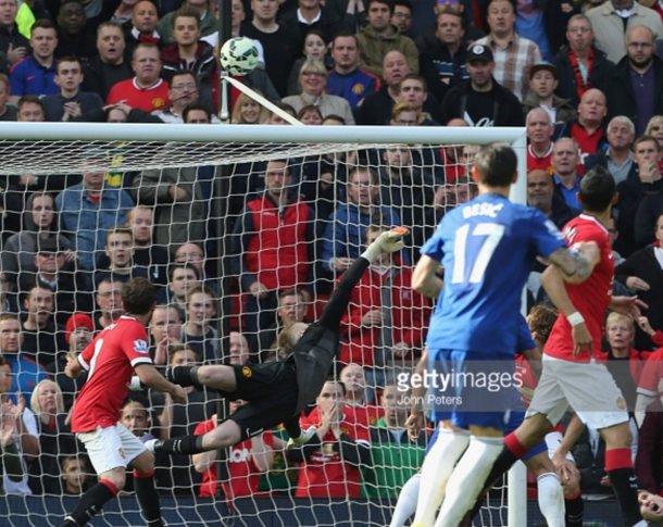 One of David de Gea's most memorable saves in his three seasons of winning the Sir Matt Busby Award was this stunning save - Everton with his weak hand (John Peters/Getty Images)