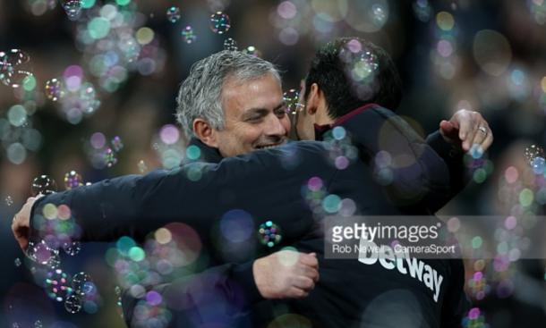 Mourinho hugs Alvaro Arbeloa after United's 2-0 win over West Ham (Rob Newell/CameraSport/Getty Images)