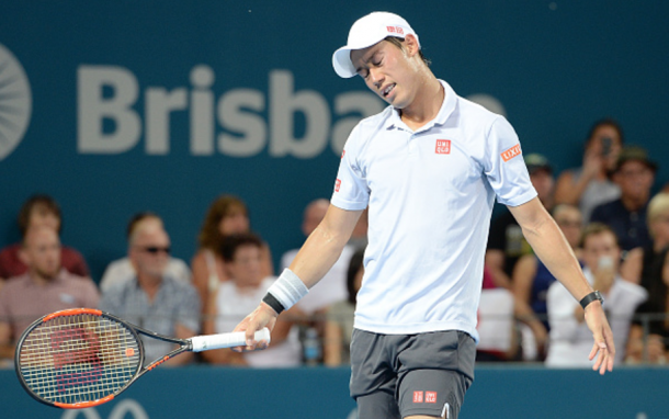A dejected Nishikori could not overcome Dimitrov's aggressiveness in the third (Bradley Kanaris/Getty Images)
