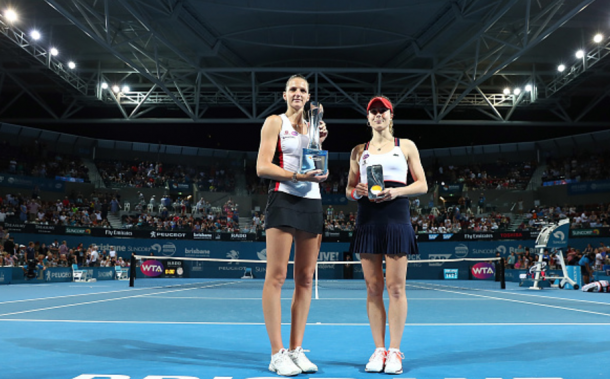 Pliskova and Cornet pose with their respective trophies (Chris Hyde/Getty Images)