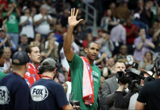It was an emotional night for Al Horford, as the Hawks commemorated his career in Atlanta with a special presentation. (Photo by Jason Getz/USA Today)