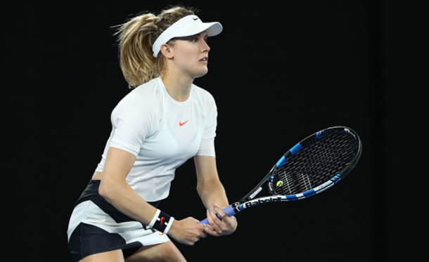 Bouchard prepares to return a serve during her match vs Coco Vandeweghe during the Australian Open (Cameron Spencer/Getty)