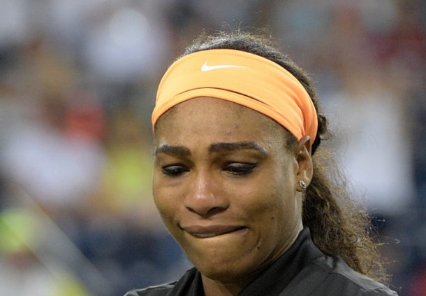 Serena in tears right before her opening match after ending her over decade-long boycott of the BNP Paribas Open (Harry How/Getty Images)