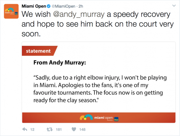 The tournament took to Twitter to break the news, wishing the world no. 1 well in his recovery. Credit: Miami Open/Twitter