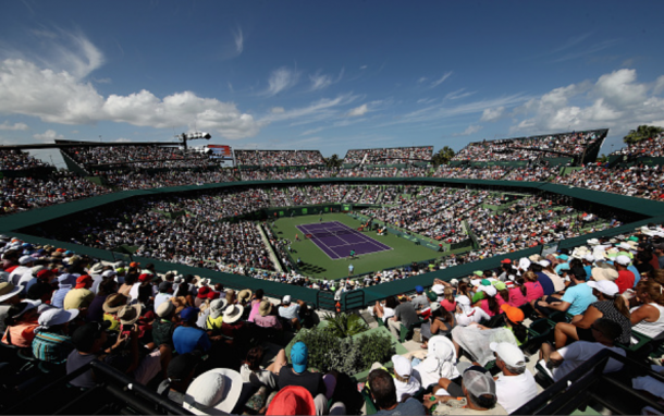 The main stadium at the Crandon Park Tennis Center was packed for this clash. Credit: Julian Finney/Getty Images