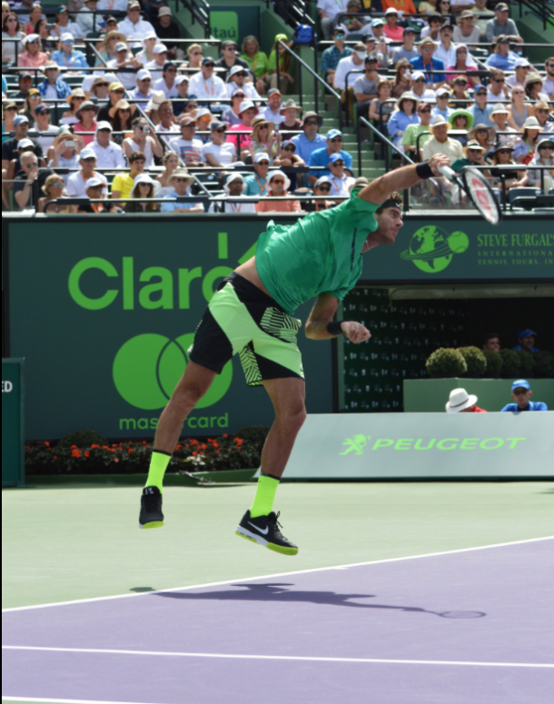del Potro's serve was strong on Monday. However, Federer was able to set up opportunities by attacking the Argentine's weaker second serve. Credit: Miami Open/Twitter