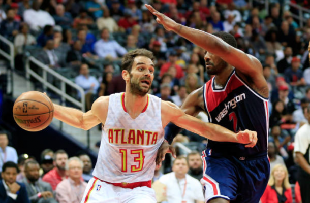 Jose Calderon was fired up and ready to contribute when called upon for the Hawks. (Photo by Daniel Shirey/Getty Images)
