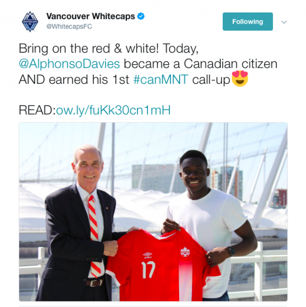 Alphonso Davies earned his first Canada Men's National team Call-up this week. (Photo: @WhitecapsFC on Twitter)