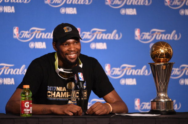 Durant smiles after Game 5 when the Warriors clinched the NBA Championship (Thearon W. Henderson/Getty Images)