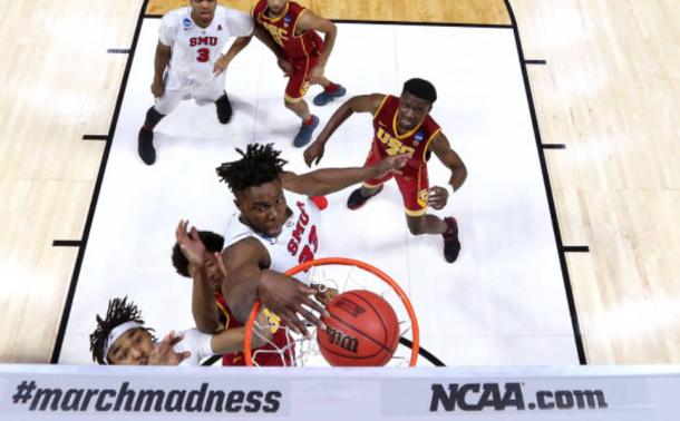 Ojeleye throwing down a monster dunk against USC in the tournament. (Photo by Ronald Martinez/Getty Images)
