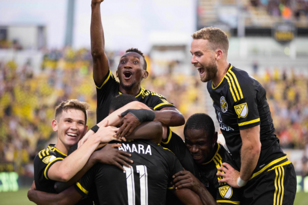 Ola Kamara celebrates his goal with teammates in Crew SC's 4-1 victory over the Montreal Impact. (Photo: Columbus Crew SC)