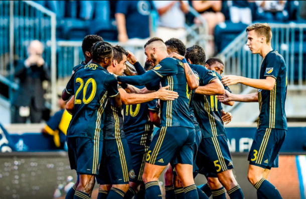 Union players celebrate Ilsinho's opening goal in their 3-0 win over Crew SC (Photo: Philadelphia Union Twitter)