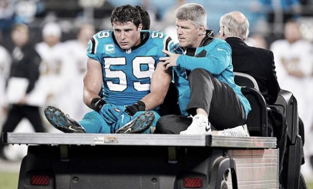 Linebacker Luke Kuechly suffered the second concussion of his career in Week 11 against the New Orleans Saints. He did not play again in 2016. (Photo courtesy of Grant Halverson / Stringer via Getty Images)
