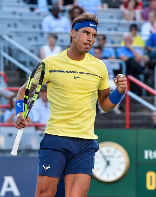 Nadal fist pumps after taking the opening set (Getty Images Sport/Minas Panagiotakis)