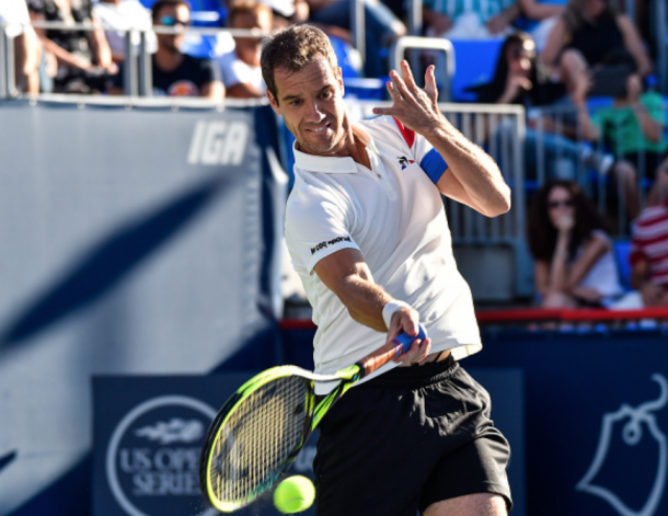 Gasquet hitting a forehand in Montreal (Getty Images Sport Minas Panagiotakis)