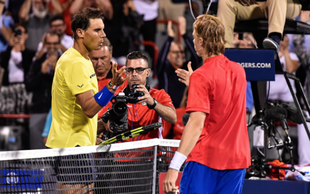 Nadal shakes hands with Denis Shapovalov after their match at the Coupe Rogers in Montreal (Getty Images Sport Minas Panagiotakis)
