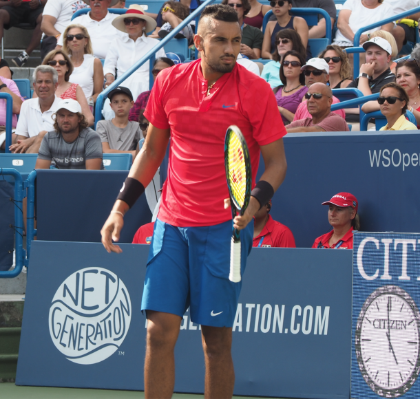 Kyrgios looks on in his match vs Dimitrov