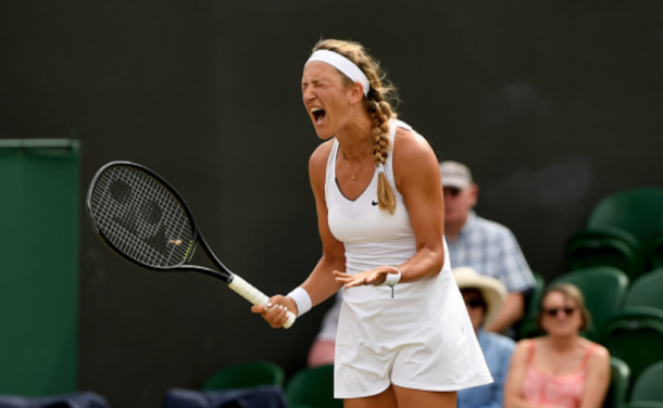A fired up Azarenka shows her emotions in her match against Simona Halep (Shaun Botterill/Getty Images)