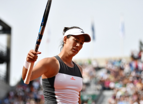 A frustrated Muguruza went out to Kristina Mladenovic at the French Open in a highly emotional match (Anadolou Agency.Getty Images)