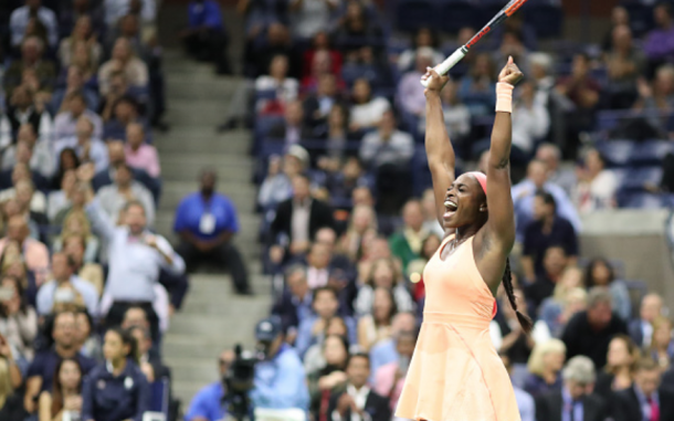 Stephens was ecstatic after knocking off role model Venus Williams to make the final (Tim Clayton/Corbis/Getty Images)