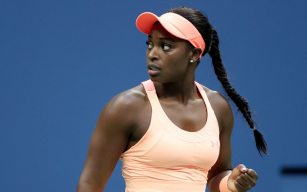 Sloane reacts to taking the first set (Matthew Stockman/Getty images)