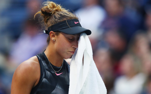 An emotional Madison Keys looks on after having another error-filled game (Clive Brunskill/Getty Images)