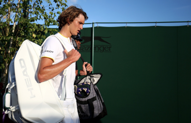 Zverev walks off after his fourth round loss to Milos Raonic at Wimbledon (Steven Paston/PA Images/Getty Images)