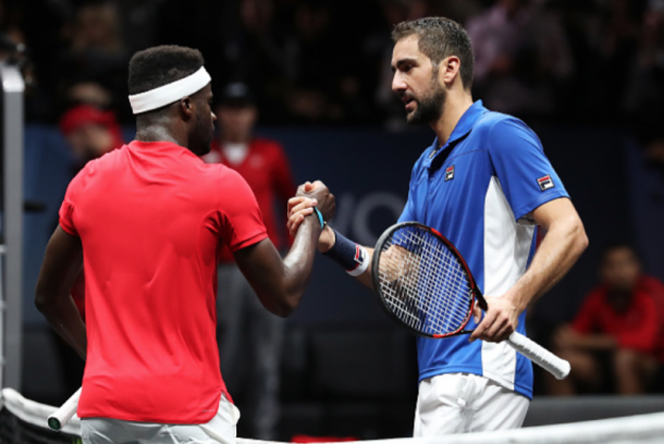 Tiafoe and Cilic shake hands after their match (Julian Finney/Getty Images)