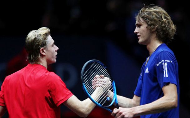 Zverev and Shapovalov shake hands (Clive Brunskill/Getty Images)