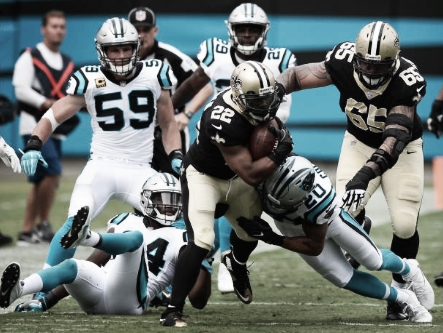 The Saints had a productive day on the ground against the Panthers, as Mark Ingram posted his (Jeff Siner/Charlotte Observer/TNS via Getty Images)