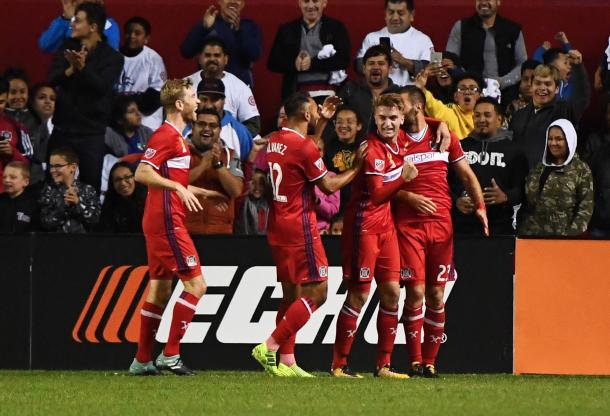 Chicago Fire celebrate the opener. | Photo: Mike DiNovo-USA TODAY Sports