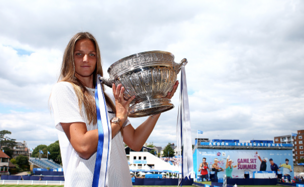 Pliskova with her title in Eastbourne (Charlie Crowhurst/Getty Images)
