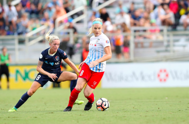 Defender Julie Ertz of Chicagoas she is up against Denise O'Sullivan, who scored the winning goal | Source: NC Courage - Twitter