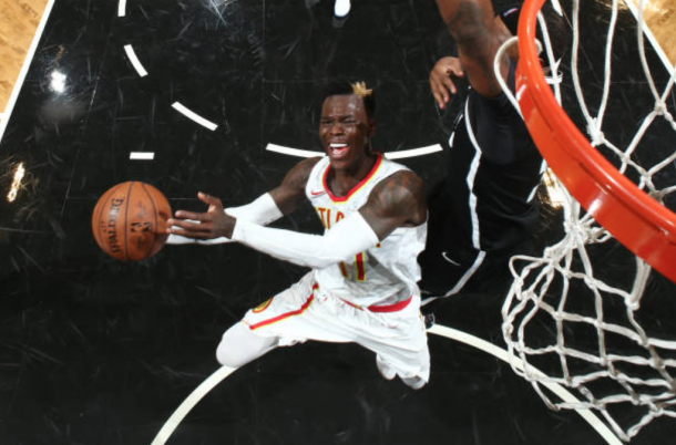 Schroder rolled his ankle on a drive to the hoop and was in a great deal of pain afterwards, unable to continue. (Photo by Nathaniel Butler/Getty Images)