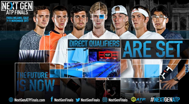 The seven automatic qualifiers for the NextGen Finals (ATP NextGenFinals Twitter)