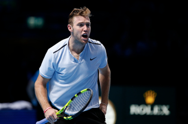 A fired up Jack Sock picked up his first win at the Tour Finals with a three-set win over Marin Cilic (Hongbo Chen/Action Plus/Getty Images